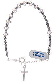 Bracciale con grani ovali in Swarovski trasparenti in argento 800 s1