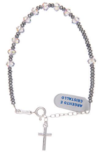 Bracciale con grani ovali in Swarovski trasparenti in argento 800 1