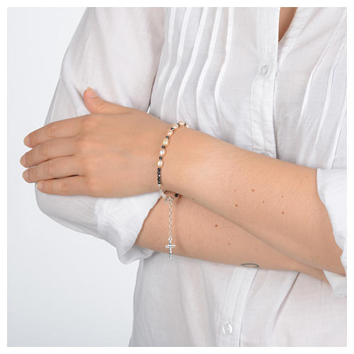 Rosary bracelet with river pearls rosè in 800 sterling silver 3