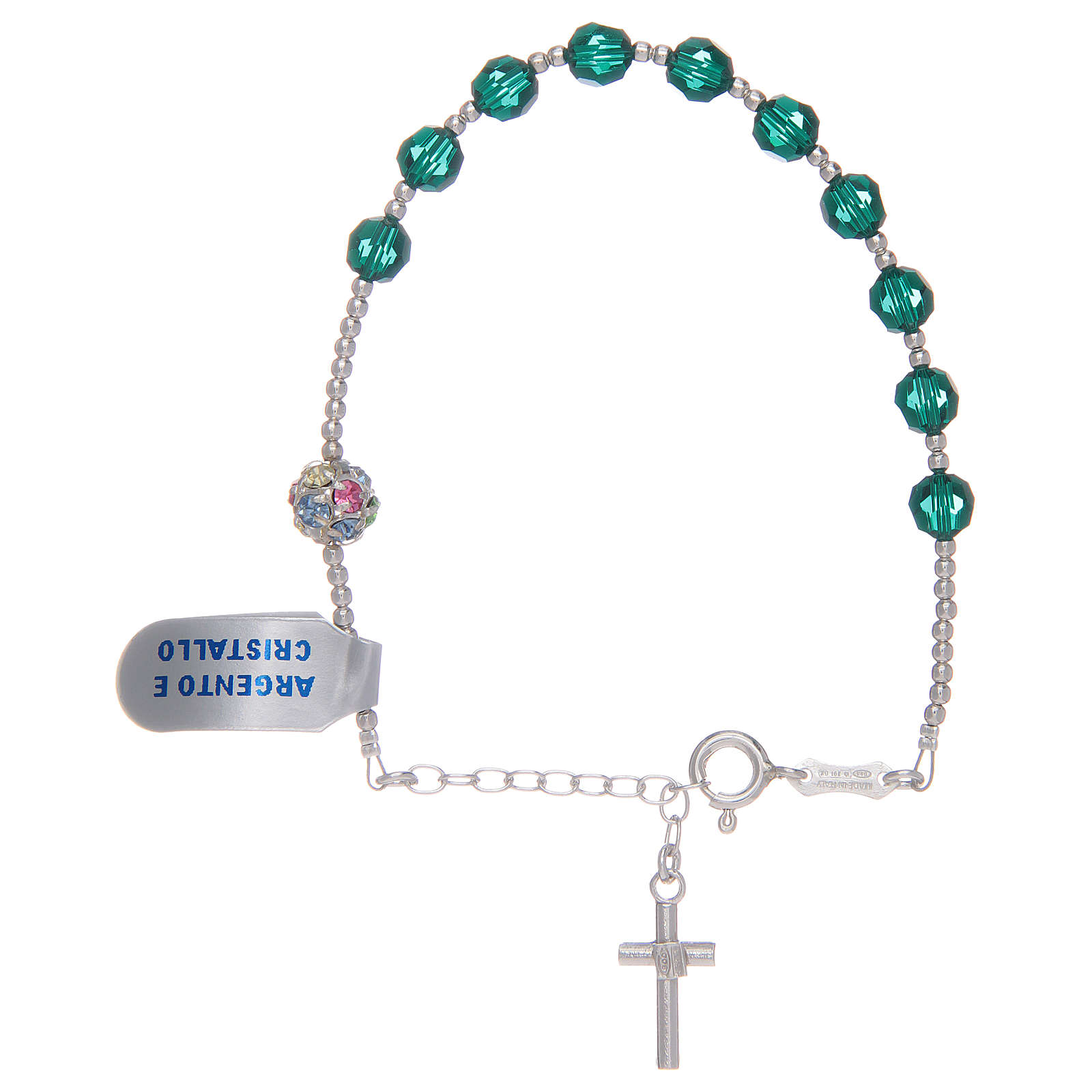 Rosary bracelet in 925 sterling silver and green Swarovski 4