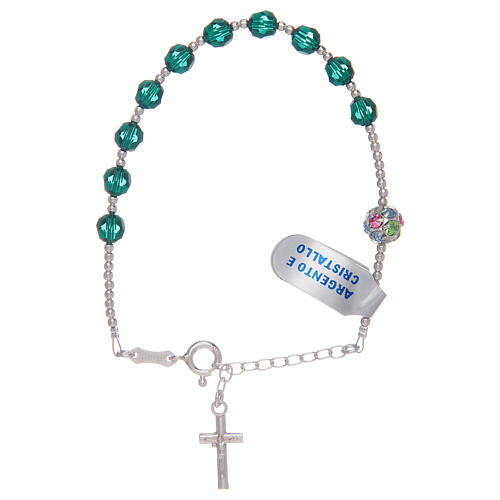 Rosary bracelet in 925 sterling silver and green Swarovski 1