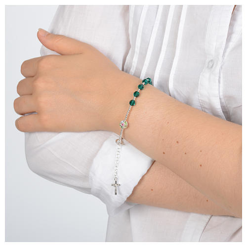 Rosary bracelet in 925 sterling silver and green Swarovski 3
