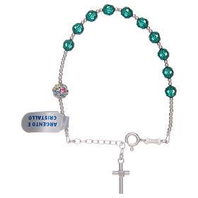 Bracciale rosario in argento 800 e Swarovski verdi s2