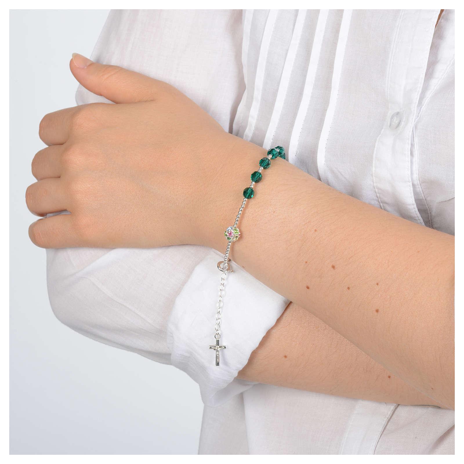 Rosary bracelet in 925 sterling silver and green Swarovski 4