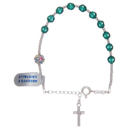 Rosary bracelet in 925 sterling silver and green Swarovski 2