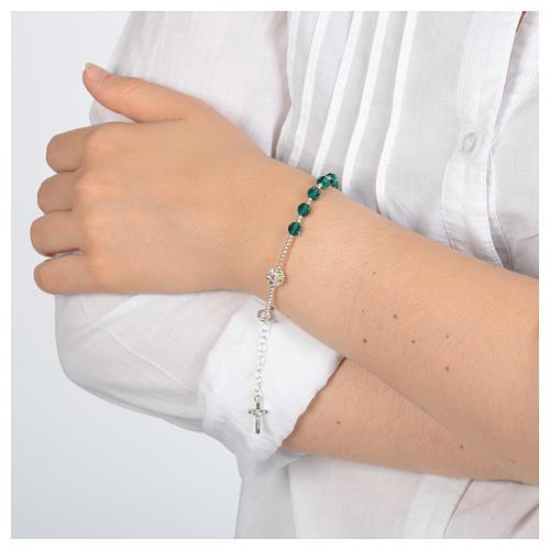 Rosary bracelet in 925 sterling silver and green Swarovski 3