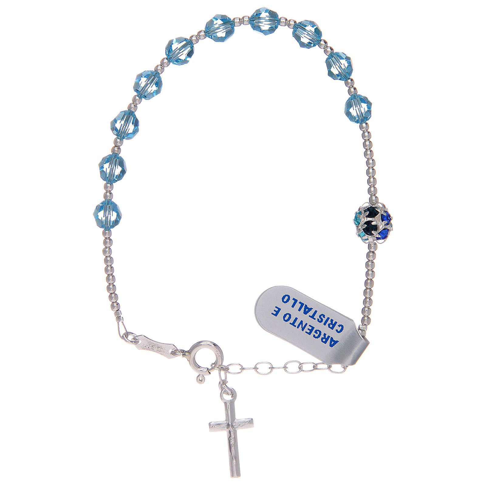 Dozen rosary bracelet in 800 sterling silver with sky blue Swarovski 4