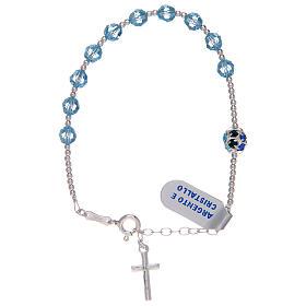 Dozen rosary bracelet in 800 sterling silver with sky blue Swarovski s1