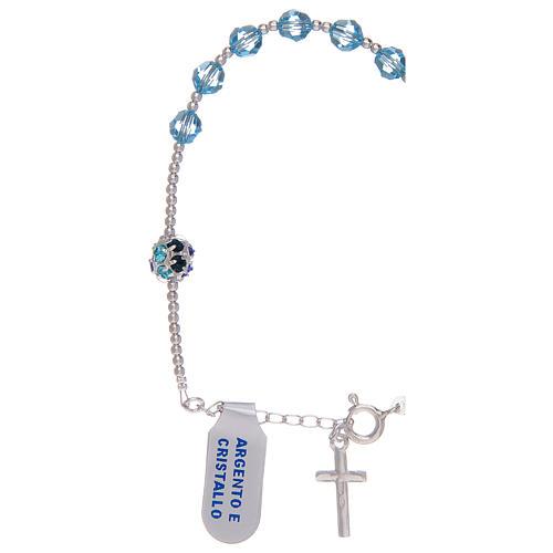 Dozen rosary bracelet in 800 sterling silver with sky blue Swarovski 2