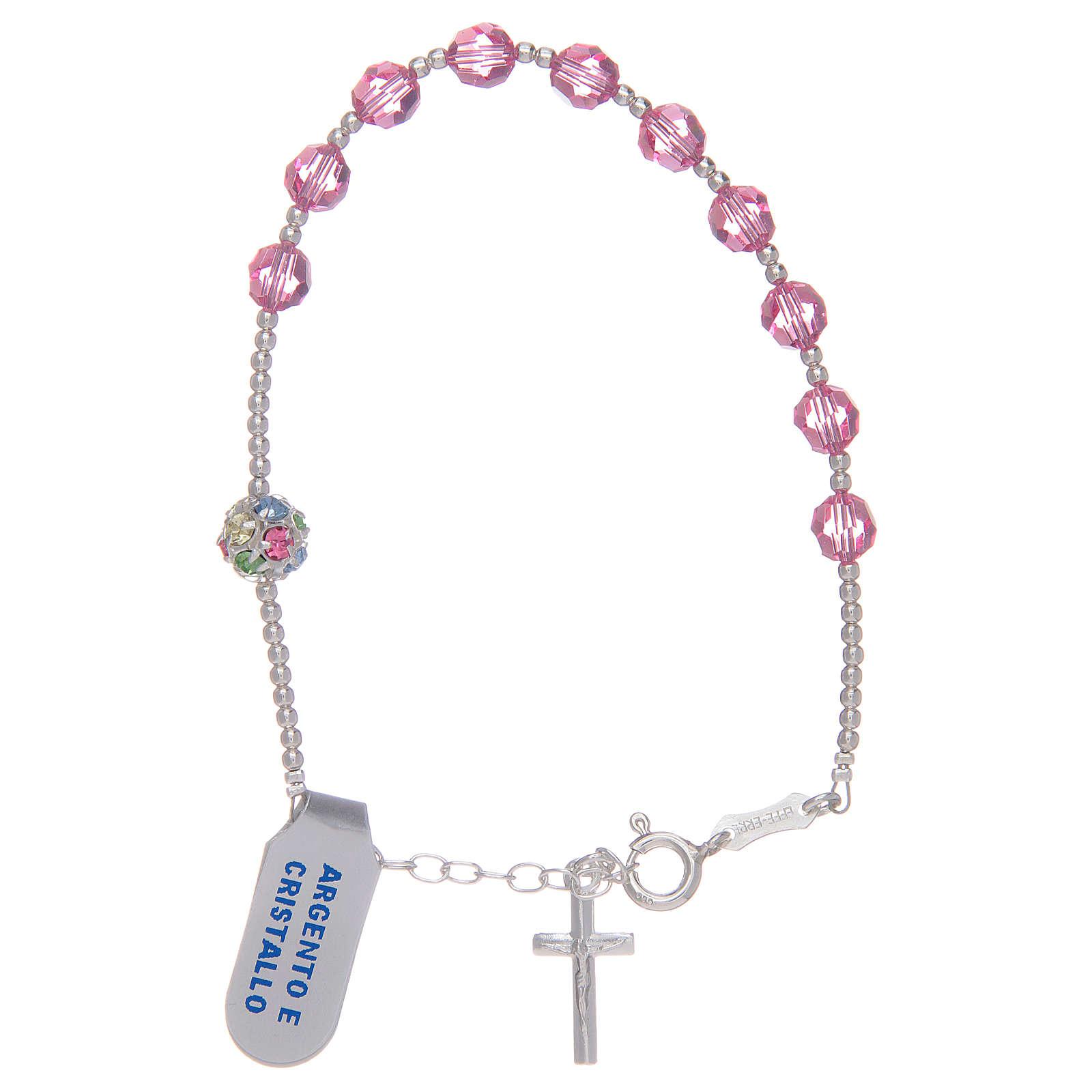 Bracciale rosario con Swarovski rosa in argento 925 4
