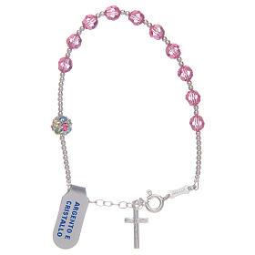 Bracciale rosario con Swarovski rosa in argento 925 s1
