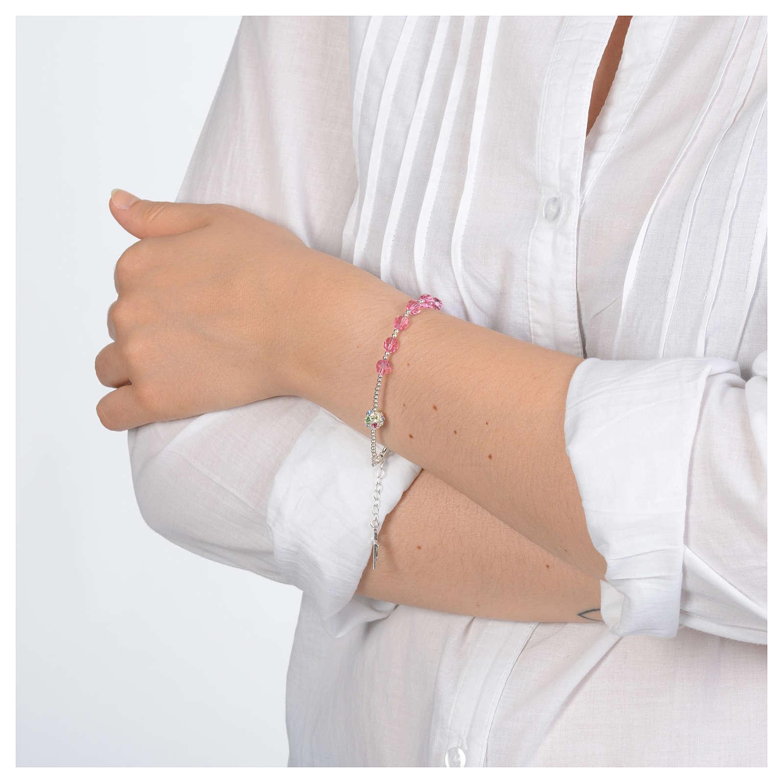 Rosary bracelet in 800 sterling silver and pink Swarovski 4