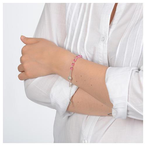 Rosary bracelet in 800 sterling silver and pink Swarovski 3