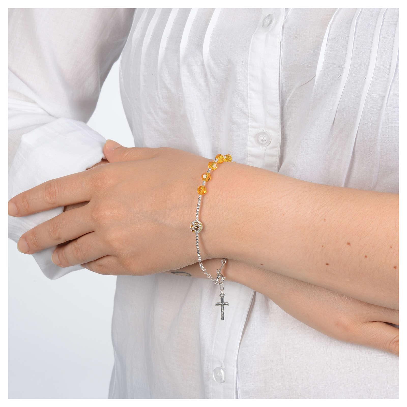 Zehner Armband Silber 925 gelbe Swarovski Perlen 4