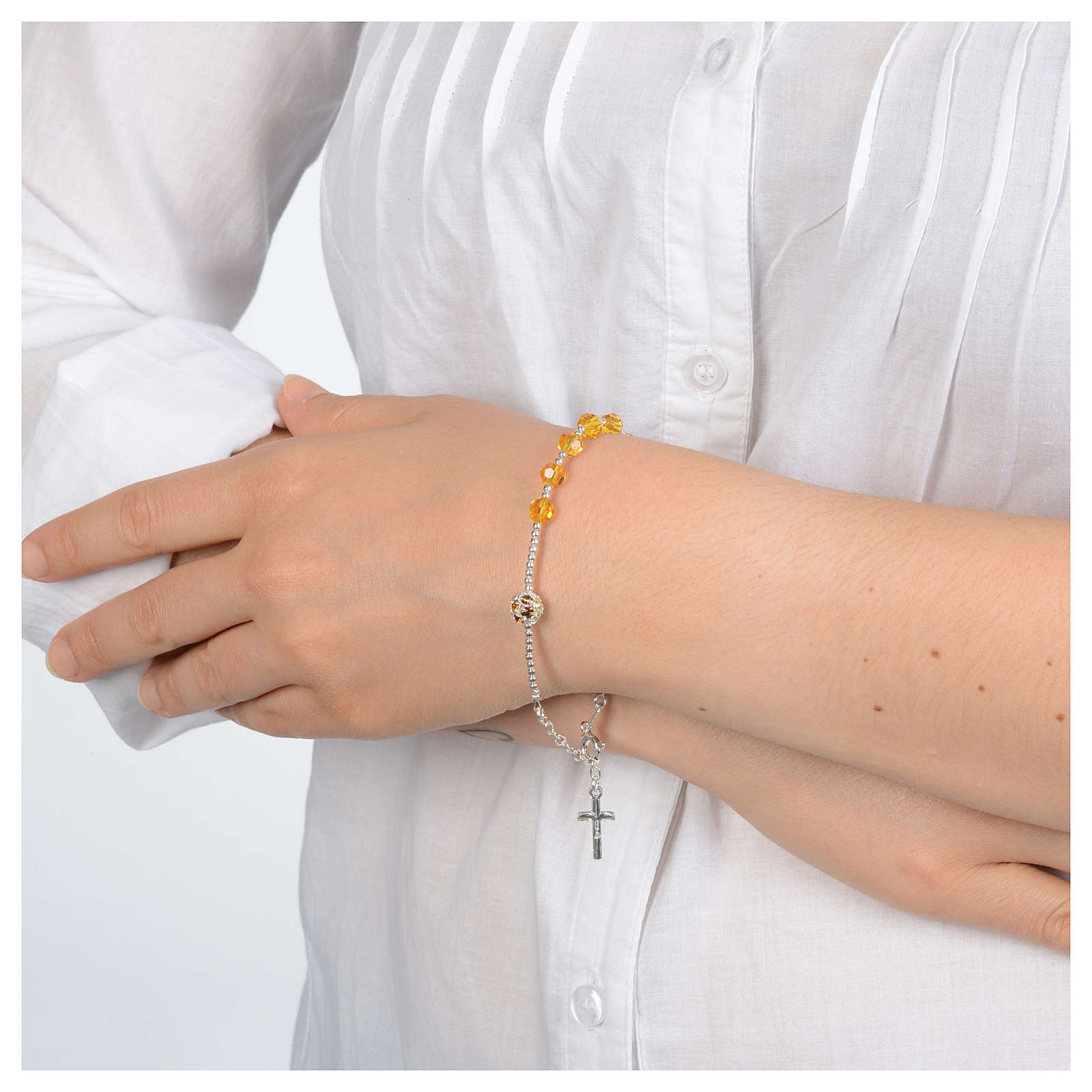 Rosary bracelet with yellow Swarovski stones in 925 sterling silver 4