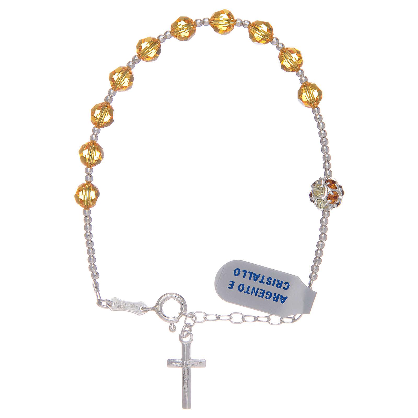 Bracciale rosario con Swarovski gialli in argento 925 4