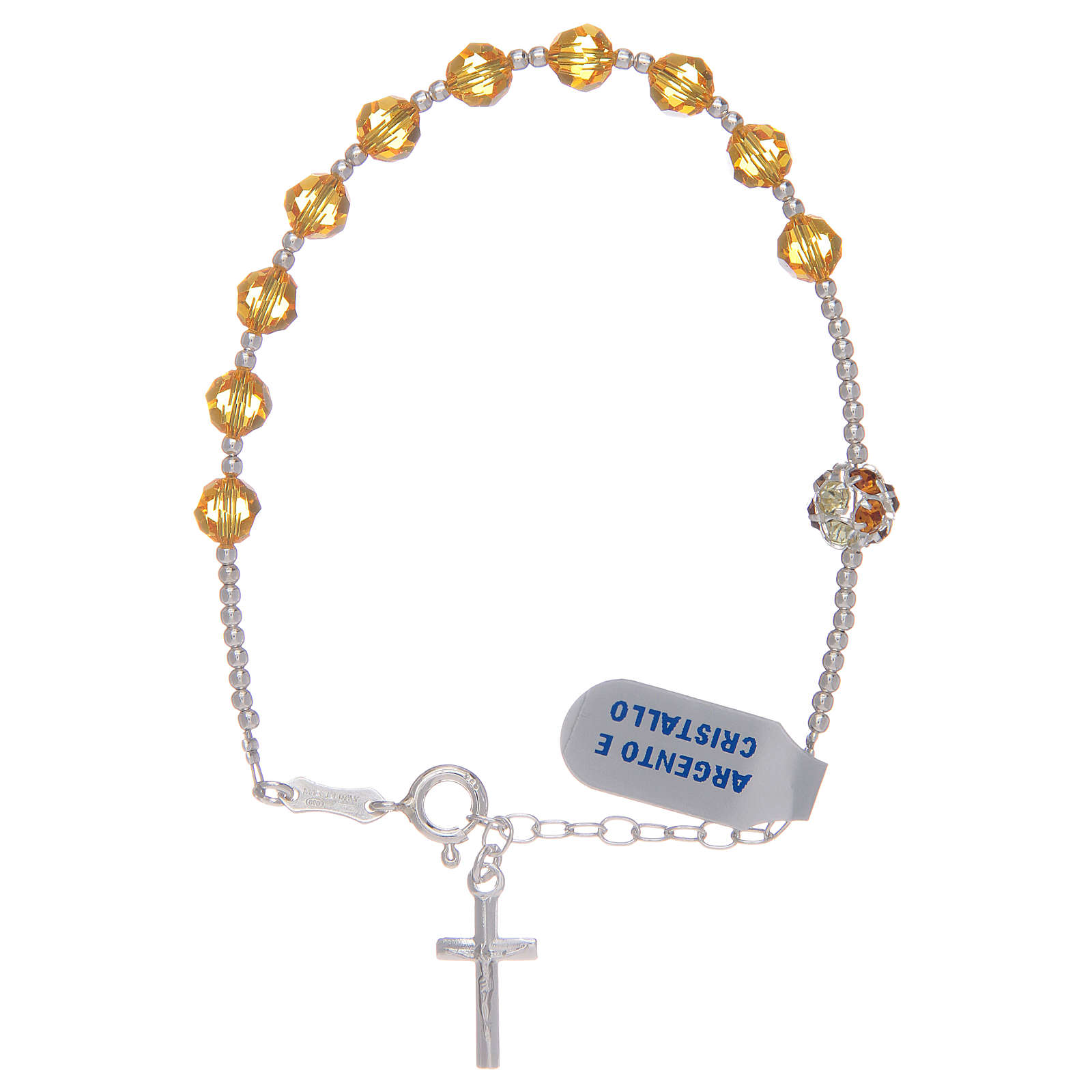 Bransoletka różaniec ze srebra 925 i Swarovski żółty 4