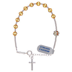 Rosary bracelet with yellow Swarovski stones in 925 sterling silver s1