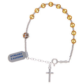 Rosary bracelet with yellow Swarovski stones in 925 sterling silver s2
