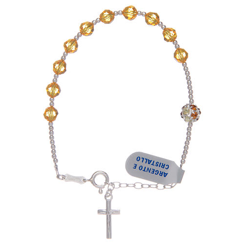 Rosary bracelet with yellow Swarovski stones in 925 sterling silver 1