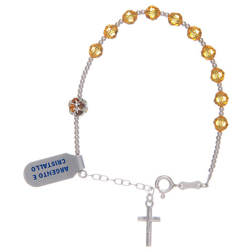 Rosary bracelet with yellow Swarovski stones in 925 sterling silver 2