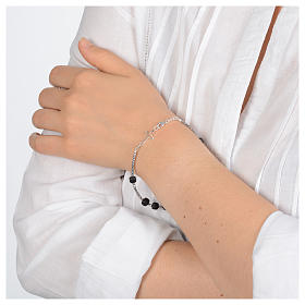 Bracciale a rosario argento 925 di colore nero s4