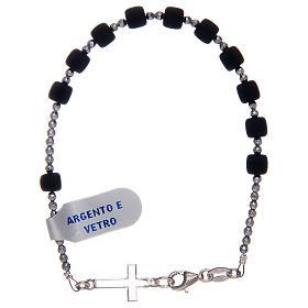 Bracciale a rosario argento 925 di colore nero s1