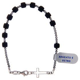 Bracciale a rosario argento 925 di colore nero s2