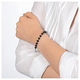 Bracciale a rosario argento 925 di colore nero s3