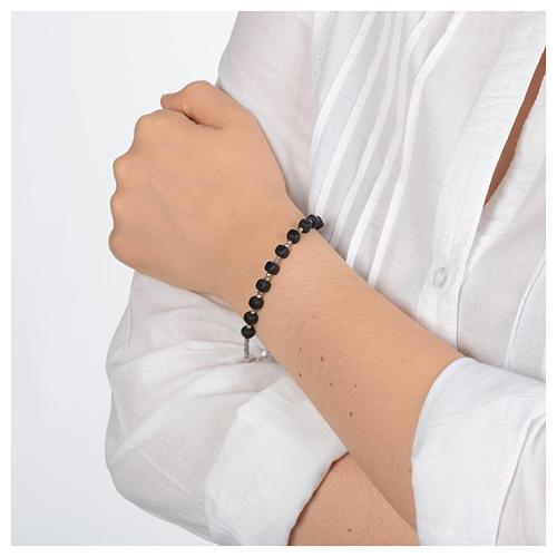 Bracciale a rosario argento 925 di colore nero 3