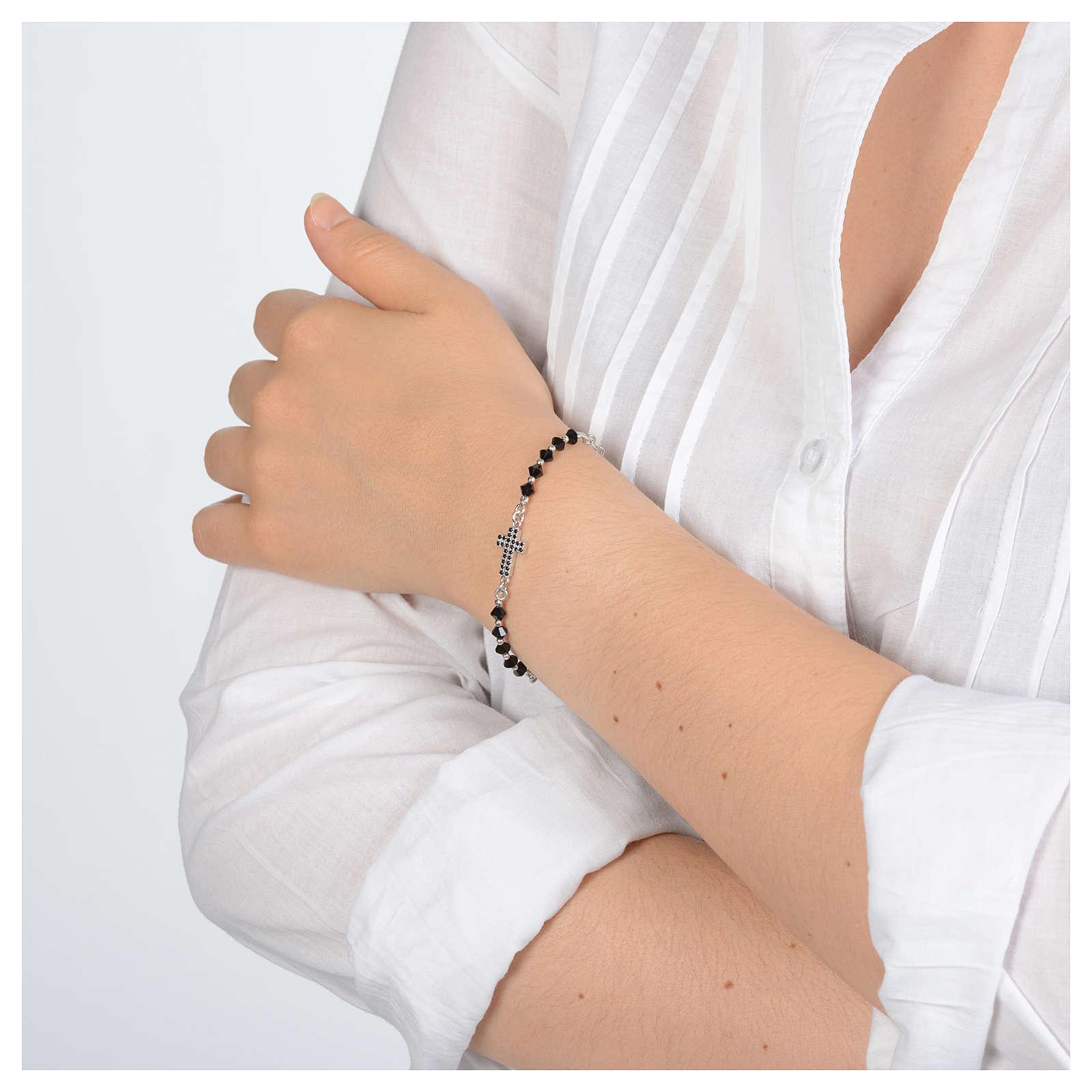 Bracciale a rosario in argento 925 argentato con zirconi di colore nero 4
