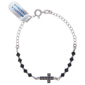 Bracciale a rosario in argento 925 argentato con zirconi di colore nero s1
