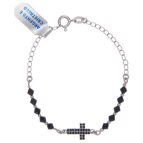 Bracciale a rosario in argento 925 argentato con zirconi di colore nero 1