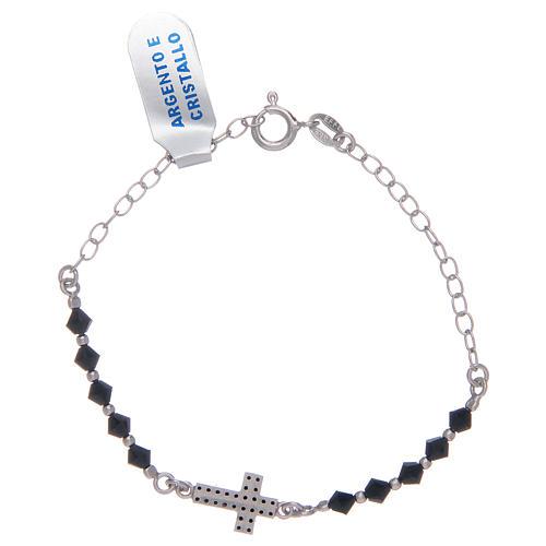 Bracciale a rosario in argento 925 argentato con zirconi di colore nero 2