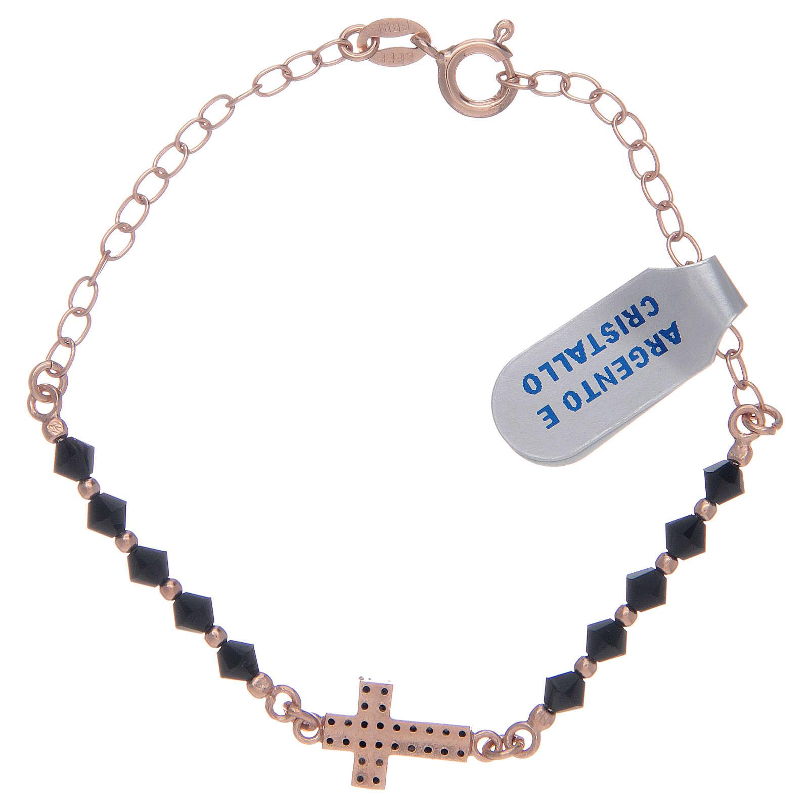 Decina in argento 925 rosato con zirconi di colore nero 4
