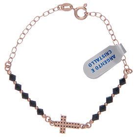 Decina in argento 925 rosato con zirconi di colore nero s2