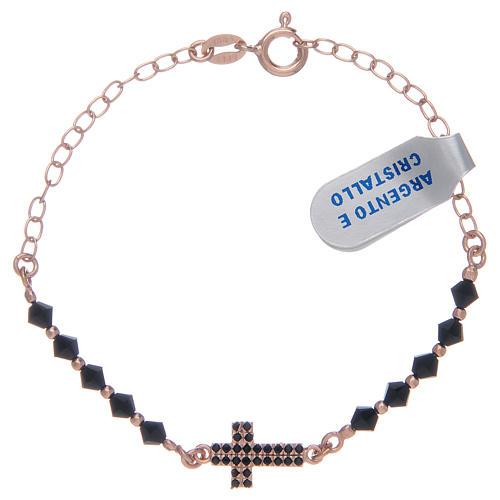 Decina in argento 925 rosato con zirconi di colore nero 1
