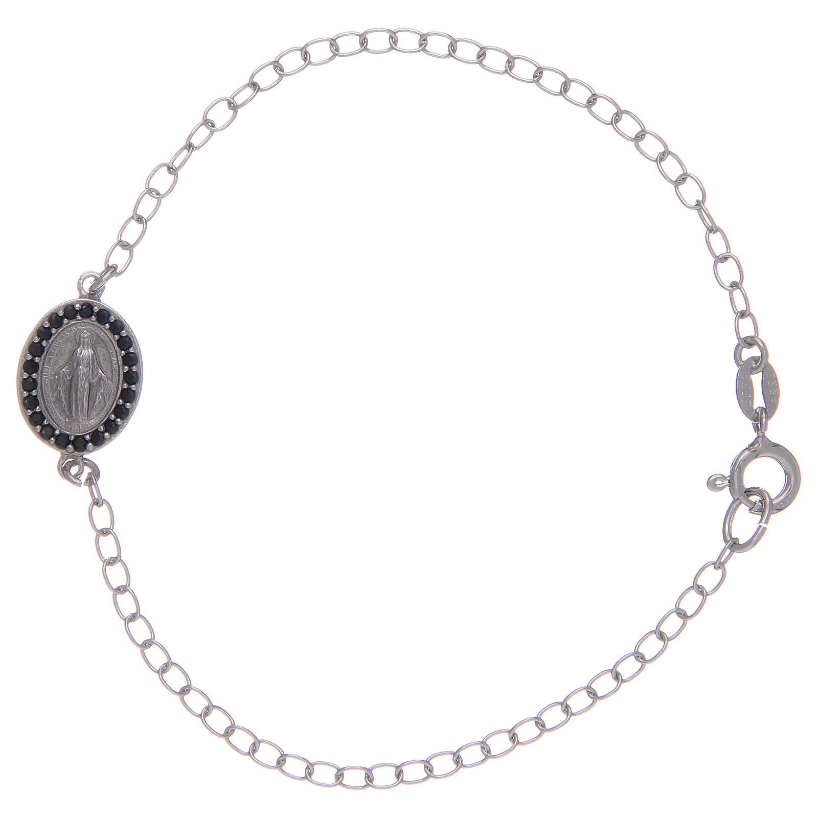 Bracelet avec médaille Miraculeuse en argent 925 pierres noires 4