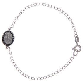 Bracelet avec médaille Miraculeuse en argent 925 pierres noires s1