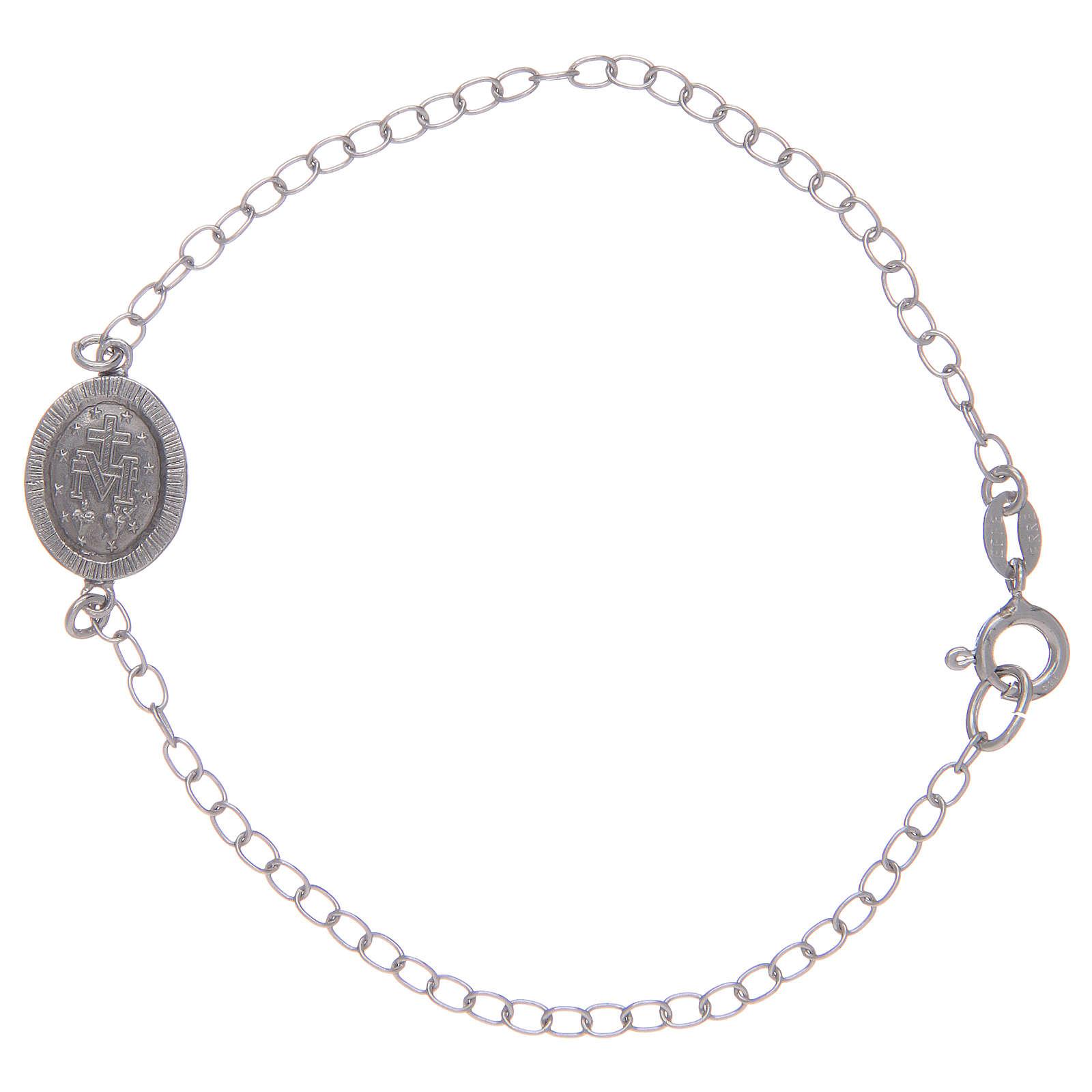 Bracciale con medaglietta miracolosa in argento 925 pietre colore nero 4