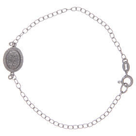 Bracciale con medaglietta miracolosa in argento 925 pietre colore nero s2