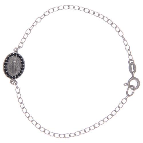 Bracciale con medaglietta miracolosa in argento 925 pietre colore nero 1