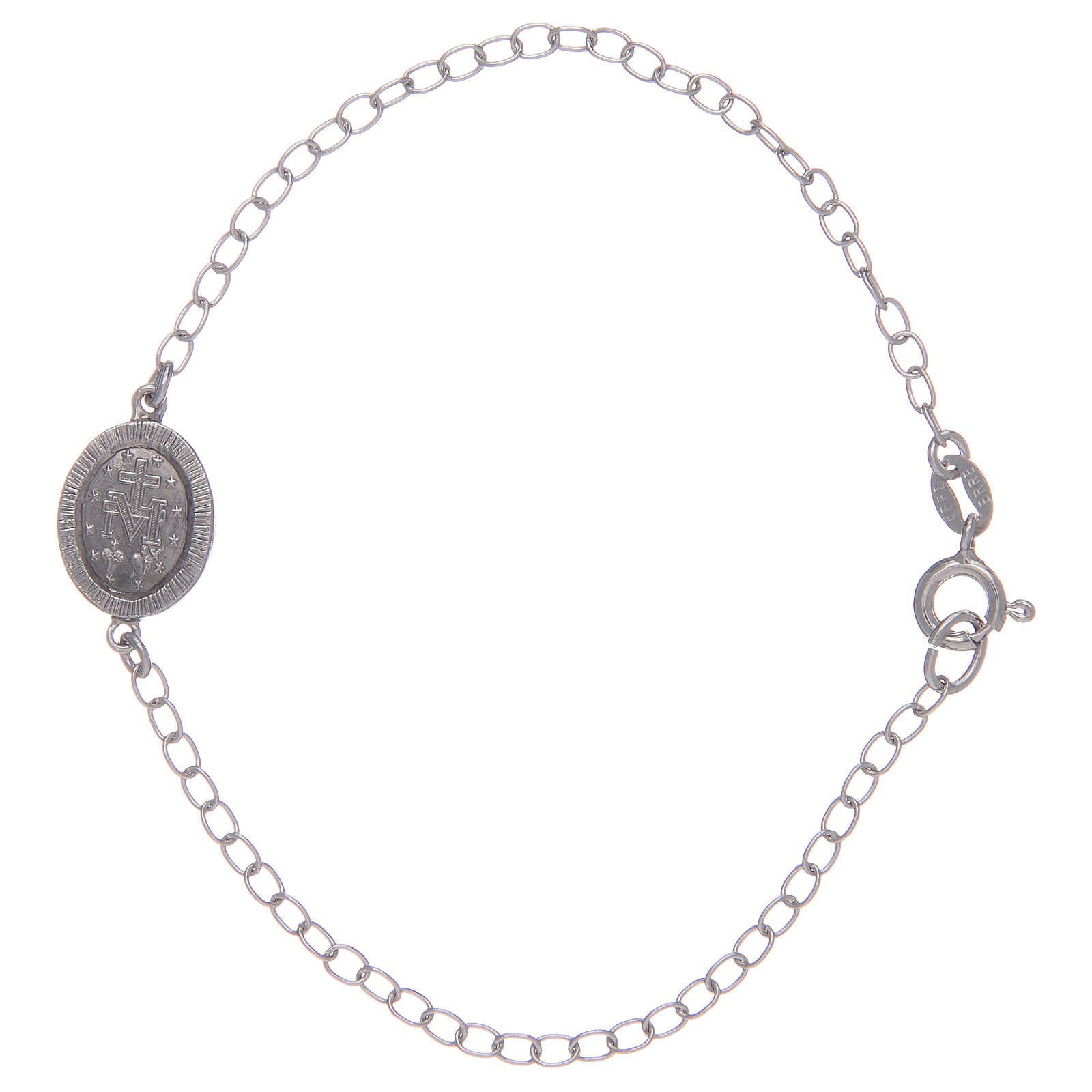 Pulsera Medalla Milagrosa plata 925 piedras transparentes 4