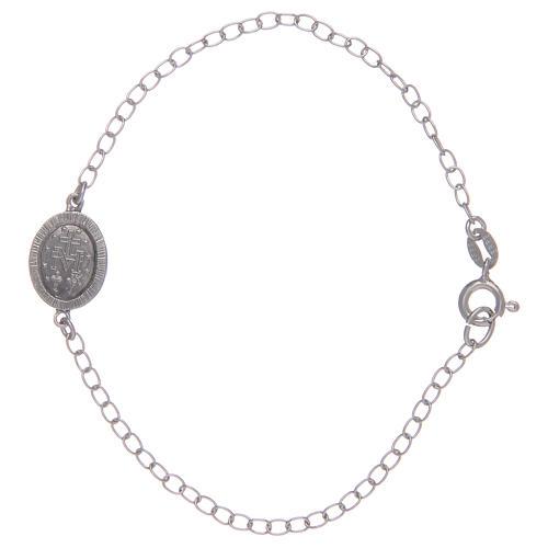 Pulsera Medalla Milagrosa plata 925 piedras transparentes 2