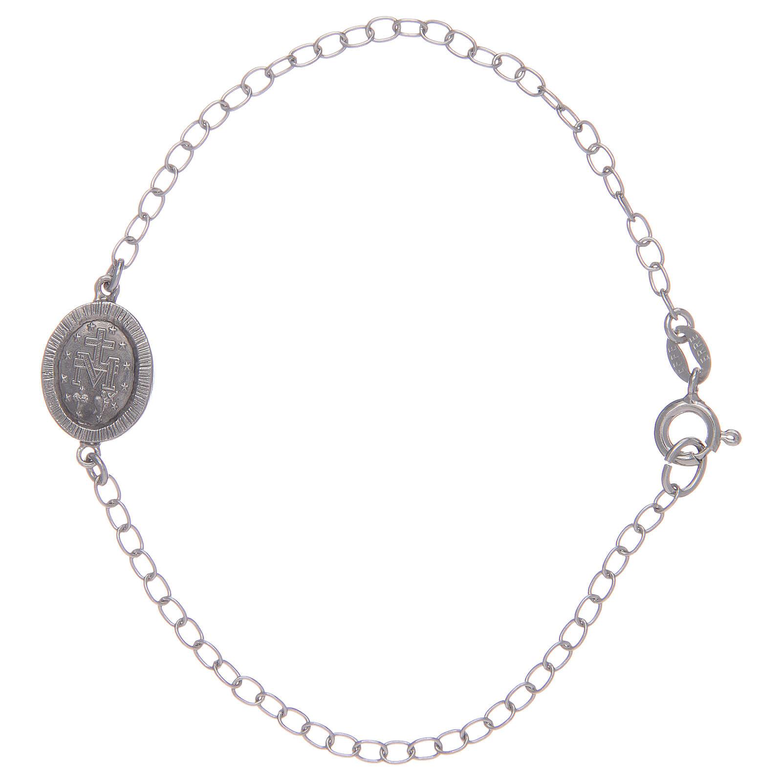 Bracelet avec médaille Miraculeuse en argent 925 pierres transparentes 4
