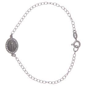 Bracelet avec médaille Miraculeuse en argent 925 pierres transparentes s1