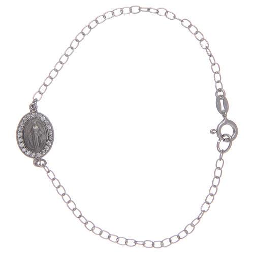 Bracelet avec médaille Miraculeuse en argent 925 pierres transparentes 1