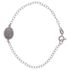 Pulseira Medalha Milagrosa em prata 925 pedras transparentes