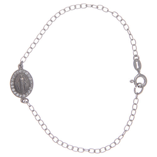Bracelet in 925 sterling silver with transparent stones and miraculous medalet 1