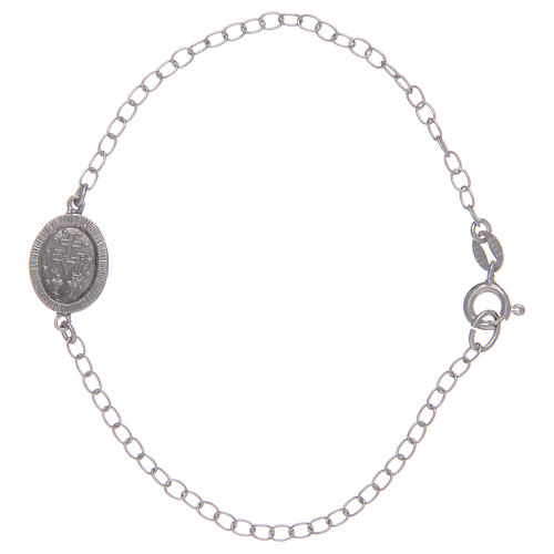 Bracelet in 925 sterling silver with transparent stones and miraculous medalet 2